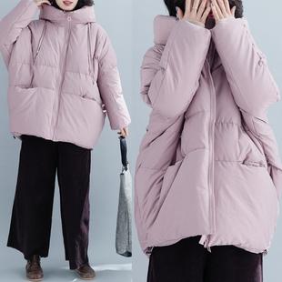 大码女装秋冬季新款胖妹妹韩版中长款蓬蓬羽绒棉衣宽松面包服外套