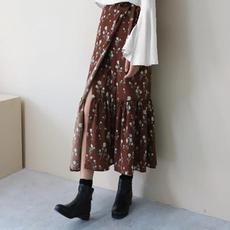 CL-韩国CHIC 巨百搭独家定制一片式花朵半身裙中长款碎花鱼尾裙女