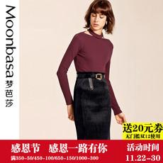 Moonbasa梦芭莎 2017秋装新品坑条针织料半分离立领两种穿法T恤