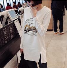 天天特价大码打底衫宽松长袖t恤女中长款韩版印花百搭小衫上衣女