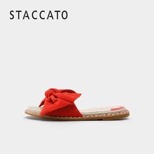 思加图2018夏季新款女鞋凉鞋羊皮平底凉拖鞋9N904BT8