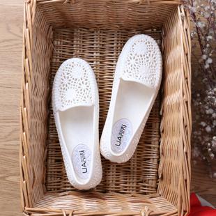 夏季舒适白色塑料凉鞋女护士鞋妈妈鞋防滑平底透气雨鞋镂空洞洞鞋