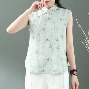 中国风斜襟盘扣印花马甲女无袖外穿棉麻背心夏季立领禅意茶服上衣