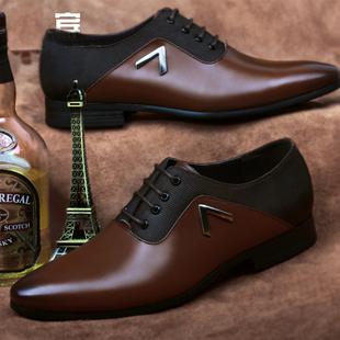 法西图青年男式皮鞋男真皮透气商务正装尖头系带黑色英伦婚鞋夏季