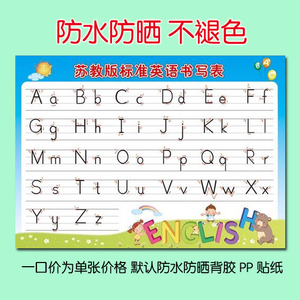 小学标准英语26个英文字母书写学习表教室班级学校装饰布置墙贴画