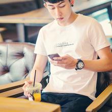 唐狮t恤男短袖圆领白色修身体恤情侣装夏装纯色韩版纯棉衣服潮流