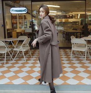2016秋冬新款韩版毛呢外套女中长款过膝系带显瘦翻领羊绒呢子大衣西装外套