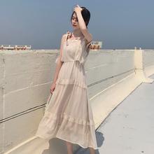 夏季2018新款气质百搭初恋裙温柔风吊带裙中长款雪纺仙女连衣裙女