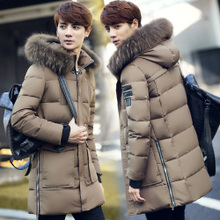 Winter trendy men's medium-length down jacket 2016 Thick Hoodied Long Down Coats