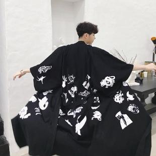 男士夏季韩国ulzzang中长款棉麻风衣bf原宿风男女款情侣宽松外套