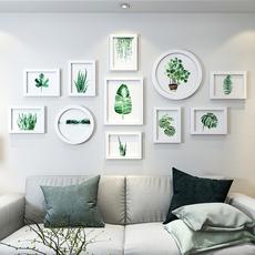绿植物照片墙装饰相框墙创意个性圆框简约现代挂墙相框组合相片墙