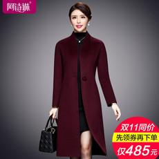 双面羊绒大衣女中长款2017秋冬新款韩版修身呢子大衣毛呢外套反季