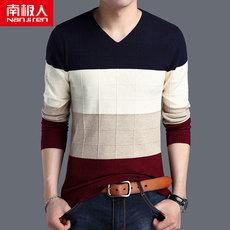 南极人新款男士长袖t恤V领针织衫中青年秋季条纹毛衣男上衣服潮流