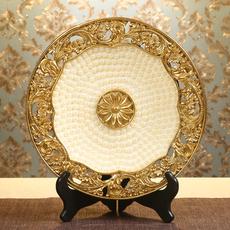 欧式珍珠挂盘摆件客厅酒柜装饰盘工艺品办公室电视柜摆设结婚礼物