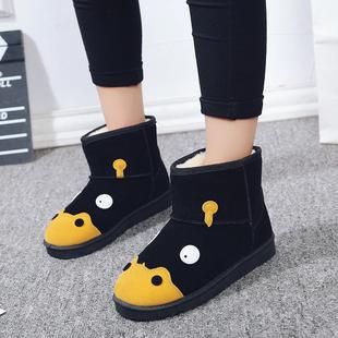 冬季女鞋磨砂靴子女短筒可爱卡通学生河马雪地靴女短靴女平底棉鞋