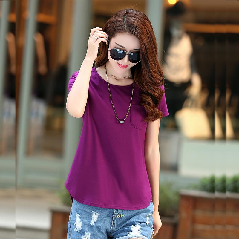 新款韩版纯色夏季大码女上衣短袖t恤女装简约百搭打底衫棉质体恤图片