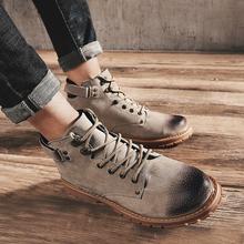 中帮靴子男士马丁靴男英伦风高帮男鞋皮靴工装雪地靴冬季棉鞋军靴