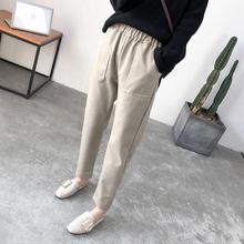 萝卜裤女宽松烟管裤2018秋冬新款韩版哈伦裤百搭休闲裤毛呢裤子女