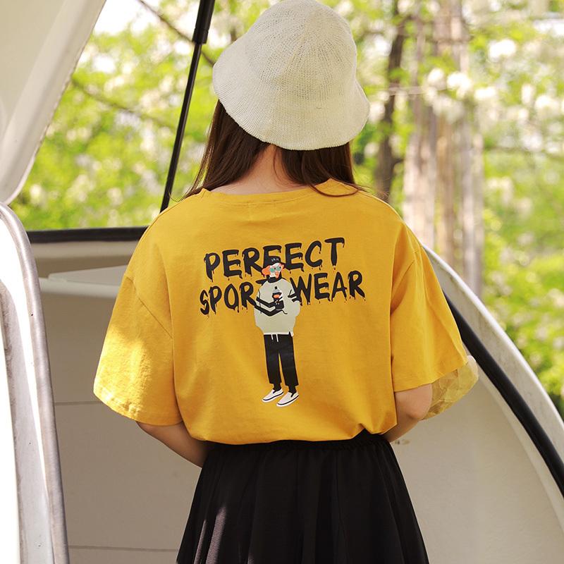 黄色短袖T恤女2018新款韩版ulzzang夏季宽松ins百搭学生半袖上衣图片