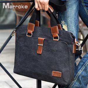 马瑞克男包手提包横款商务单肩包帆布斜挎包休闲公文包14寸电脑包男士手包