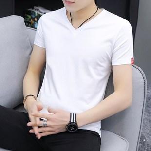 短袖T恤男V領夏季韓版修身純棉白色百搭男士雞心領半袖冰絲體恤衫