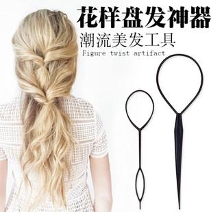 韩国拉发针盘发器套装儿童编发美发用品女孩穿发器丸子头流行发饰