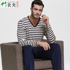 竹纤维男士家居服秋冬季睡衣男套装长袖长裤加肥加大码条纹宽松