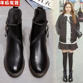 短靴秋冬季新款皮鞋马丁靴女英伦风平底鞋女靴子百搭棉鞋女鞋