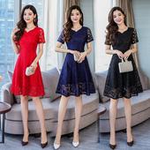 女装 大码 修身 韩版 显瘦中长款 蕾丝连衣裙 2018新款 胖mm夏装 气质时尚