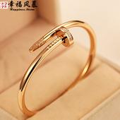 镀18k玫瑰金手镯女款日韩时尚生日礼物钛钢饰品经典流行钉子手环