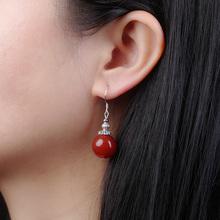 时尚气质耳环红玛瑙耳坠无耳洞耳夹复古古典民族风耳饰简约饰品女