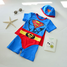 Korean version of children's swimming suit, boy Superman 6, boy cartoon, baby swimming suit with swimming cap