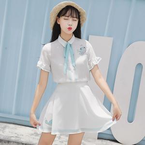 套装女夏季韩版甜美可爱公主白色清纯雪纺小清新两件套裙学生女装
