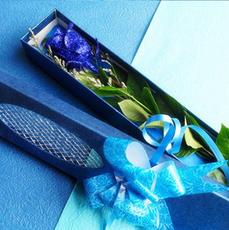 鲜花速递全国单支水晶蓝玫瑰鲜花礼盒1朵蓝色妖姬生日情人节送花