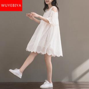 小清新棉麻裙子少女夏装2019新款初中学生韩版宽松露肩短袖连衣裙