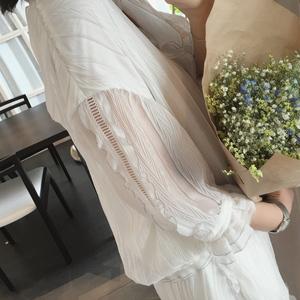 ◆ASM◆2017夏装新款 气质百褶V领上衣阔腿短裤时尚两件套装女装时尚女装