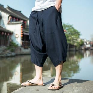 中国风加肥加大码七分裤子男 宽松 哈伦裤棉麻吊裆短裤亚麻阔腿裤