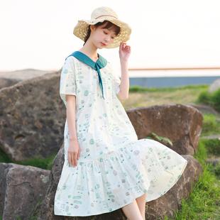 2018夏装新款宽松文艺学院风印花棉麻连衣裙女中长款荷叶边鱼尾裙