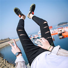 夏季韩版黑色破洞休闲九分裤男个性漏洞破烂小脚裤修身洞洞牛仔裤