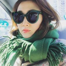 偏光太阳镜女士2016新款复古大框眼睛林允儿眼镜绿框猫眼圆脸墨镜