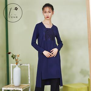 中国风女装 民族风连衣裙复古刺绣宽松打底裙 连衣裙秋冬女长袖