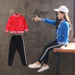 童装女童春秋装卫衣三件套装中大童2018新款小女孩纯棉运动服12岁
