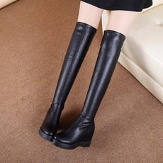2017冬季新款韩版内增高长靴女过膝靴瘦腿弹力百搭显瘦性感长筒靴