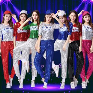 新款爵士舞演出服DS女成人啦啦操服装现代舞练舞服嘻哈亮片舞蹈服