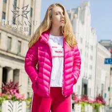 伦卡奴新款轻薄羽绒服女短款欧美修身超薄款外套潮立领冬装棉衣
