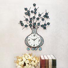 恋妆钟表现代简约挂钟客厅创意花瓶挂表石英钟电子钟静音夜光时钟