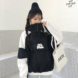 蝙蝠袖高领卫衣女加绒加厚撞色外套韩版潮BF原宿嘻哈学生上衣服潮女式外套