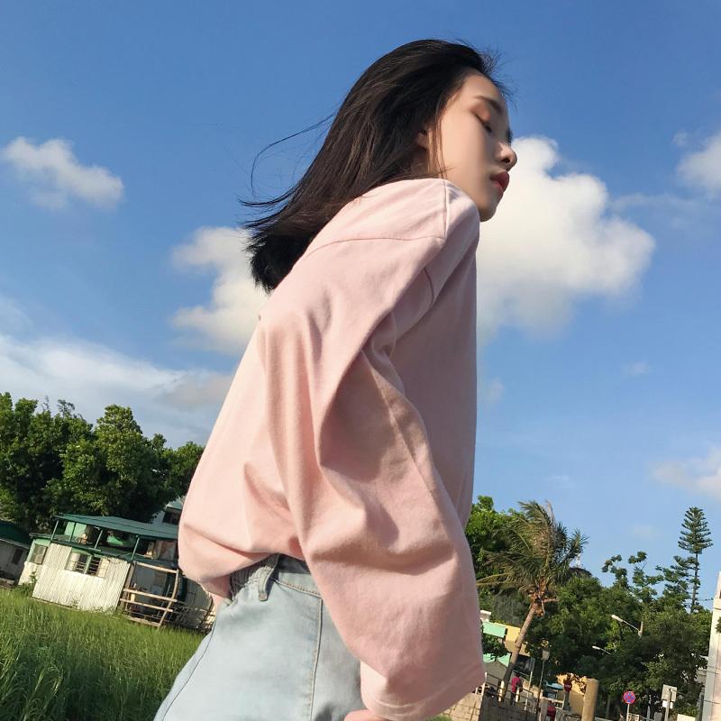 长袖t恤女宽松学生中长款早秋季韩版纯色打底衫港味chic慵懒上衣图片