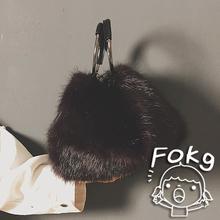 欧美时尚真毛女包气质百搭皮草毛毛包简约兔毛手提包毛绒纯色包包