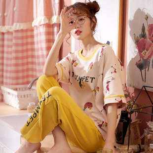 睡衣女夏季短袖长裤纯棉春秋薄款半袖春夏天两件套女款家居服套装